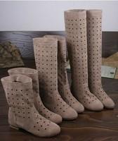 2014 Summer High-leg boots Cut -outs Knee boots Flock flat hole women shoes Black Beige Red Fresshiping RH131