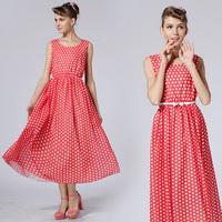 With Belt Best New Polka Dots Print Dresses Plus Size Classic Dress Vintage Fashion Chiffon Cute Summer Women's Dress 8511#