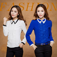 Elegant Chest Lace Leisure Spring New 2014 Chiffon Full Patchwork White Blue Plus Size Body Blouses Women's Clothing Shirts