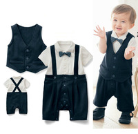 2015 Popular New Arriver baby boy suit vest+ baby romper with bowknot Wedding Special Occasion Christening Tuxedo Formal clothes