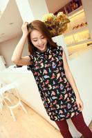 2014 medium-long spring translucent all-match loose sleeveless chiffon shirt black basic shirt female