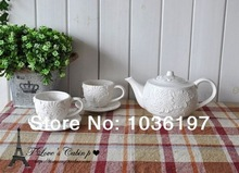 embossed floral design coffee sets embossed cup and saucer embossed teapots Euro style embossed tea sets
