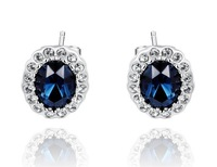 A297   White Gold Austrian crystal brand crystal earrings wedding gilded gold leaf blue ink  2020039570   B5