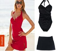 Women's Swimwear Large Size 2014 Vitoria Swimsuit With Small Skirt Steel Bracket One Piece Swimwear Sexy Bathing Suit M/L/XL/XXL