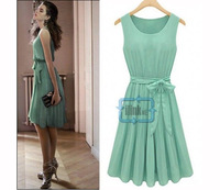 Spring Summer New Fashion Womens Sleeveless Pleated Round Collar Chiffon Vest Dress
