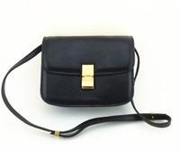 24CM Designer Classic Box Bag / Genuine Leather (Cow leather) Women Classic Box Handbag  with Cross Body Strap (SPG309)