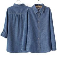 Fashion plus size denim shirt female shirt outerwear
