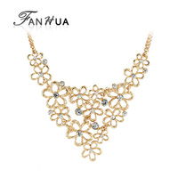 Gold Color Chain Hollow Our Alloy Rhinestone Statement Necklace New 2014 Spring Fashion Designer for Women