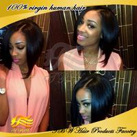 Silky straight virgin brazilian human hair bob wigs glueless Lace front bob wigs/full lace bob wig for black women free shipping