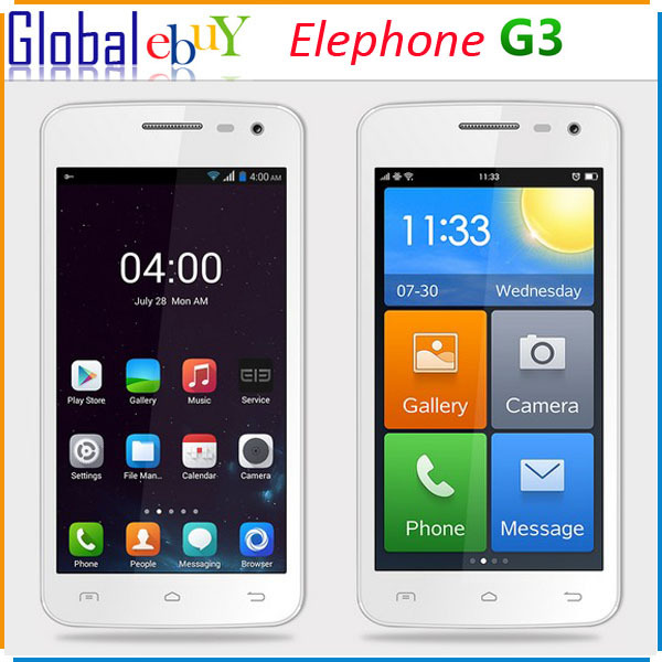 New Original Elephone G3 MTK6572 Dual Core Android 4.4 Smart Phone 512MB RAM 4GB ROM 4.5 inch IPS GPS 3G WCDMA Cell Phone(China (Mainland))