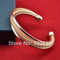 Womens 18K light rose gold charm cuff bracelet & bangle wedding jewelry wholesale lot Popular European USA style