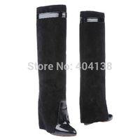 50%OFF genuine leather shark tooth lock New Brand celebrity design in calfskin Hidden wedge pointed Toe Buckle Knee women Boots