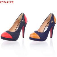 ENMAYER 2015 New arrival luxury brand high heel Denim shoes 11cm ladies platform sexy 2-color platform pumps size34-45