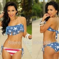 Women's swimwear Light Blue Stars and Stripes USA Padded Twisted Bikini Bandeau American Flag Swimwear