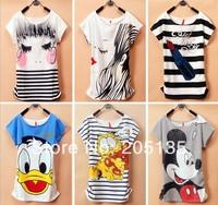 Wholesale10pcs/lot 2014 New Hot Women cartoon T-shirts Short Sleeve Loose Printed Cotton T Shirts O-Neck summer tees Promotion
