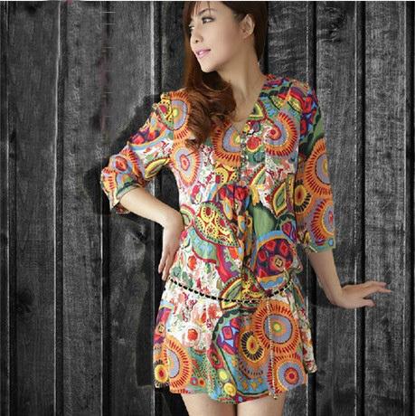 new 2014 summer dress V-neck short-sleeve National print dress women cotton mini dress Casual Vestidos L XL 2XL 3XL 4XL(China (Mainland))