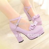 2014  Elegant sweet princess bow high-heeled shoes, hasp sexy platform thick heel single  fashion women's shoes