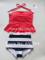pinkish orangish navy stripe HIGH WAISTED Bikini Set RETRO Swimsuits  Swimwear Vintage RETRO high waist bathing suit women
