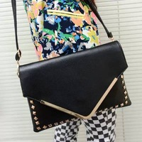 Bags 2014 punk vintage envelope bag day clutch rivets one shoulder women's handbag women clutch women leather handbags