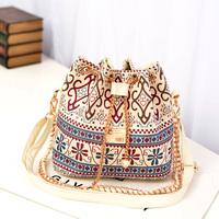 2014 Bohemian canvas drawstring bucket bags wild printing chain shoulder bags messenger bags women handbag ladies bags bolsas