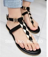 New 2014 Women's T belt Sandals Woman's Flats Shoes Free Shipping brand Summer Sexy flat 35-39