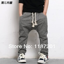 Free shipping 3 ~ 12 years old  Children pants 2014 boys harem pants new fashion pants for boys grid pants  Children's trousers(China (Mainland))