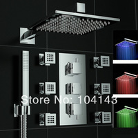 """50027C Luxury Competitive Price 12"""" LED Shower Head Rainfall Polished Chrome With Valve Tap Shower Set"""