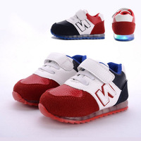 2015 new Spring and autumn baby toddler shoes kids  sport shoes belt flasher breathable baby shoes soft sole shoes