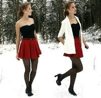 Fashion Short Skirt Pleated Royal Princess Thickening Woolen Bust Skirt Zipper Style Winter Women's Skirts(Blue&Black&Red)Sale
