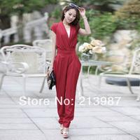 2014 New summer jumpsuit 3 colors slim waist women's full trousers jumpsuit fashion loose Solid Color V-neck jumpsuit S M L
