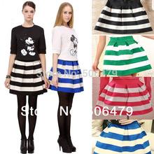 Atacado 2015 New Fashion trend 5 das mulheres cor da moda meninas saias Retro preto Flared e branco saia tarja vai saia HOT(China (Mainland))