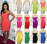 kim Kardashian Strapless HL 2014 Women Elastic Knitted Sexy Bodycon Bandage Dress Celebrity Dresses Red Rainbow Cheap Wholesale