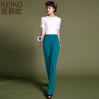women pants rushed sale loose mid chiffon zipper fly spliced yoga pants 2014 spring fashion lace elegant slim jumpsuit trousers