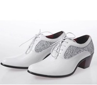 2014 men's pointed toe british style lace-up cool bling oxford height increasing dancing dress shoes male formal shoes 8858