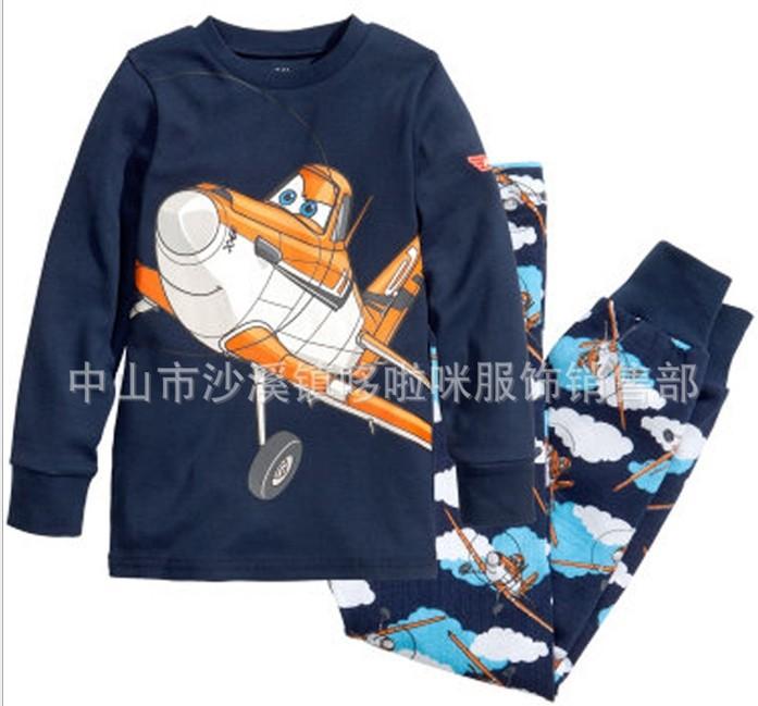 2014 New kids planes pajamas set boys long sleeve spring autumn sleepwear clothing baby lovely pyjamas suit in stock(China (Mainland))