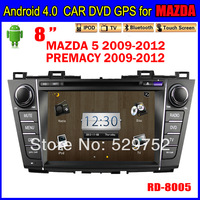 free shipping navigation  8inch Car dvd gps Andriod for MAZDA 5 Car Radio TOUCH SCREEN 3G Wifi Bluetooth TV IPOD