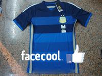 A+++ Top Men Thailand 16# KUN AGUERO Argentina 14 15 Away Outdoor Blue Soccer Kit Futbol Football Jersey Custom Name Messi