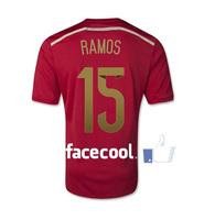 A+++ 15# Sergio Ramos Spain Nation Soccer Jerseys Thailand Top Player Issue 2014 Spanish Futbol Camisetas Uniforms Shirt