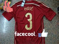 A+++ 3# PIQUE Best Thailand Grade Spain 2014 World Cup Player Issue Men Brand Shirt Soccer Jersey Futbol Shirt Customize Name