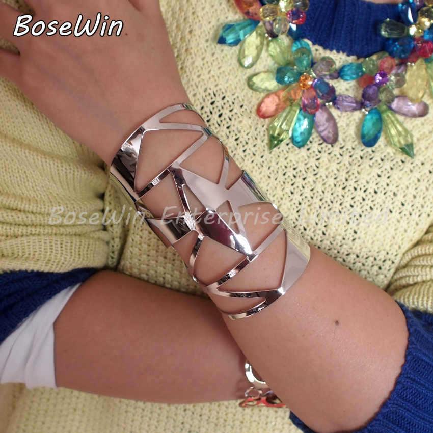 Mode geometrische hohlen damenschmuck glänzend Facetten legierung großen eröffnet manschette armbänder& armbänder Gold& Silber Farben bl149