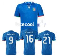 A+++ Italy 2014 New Home Blue Thailand Quality Soccer Jersey Football Shirt Custom Balotelli Pirlo El Shaarawy De Rossi