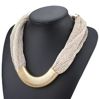 2014 design fashion mesh plated with many fine golden twisted circle chunky choker statement necklace for women