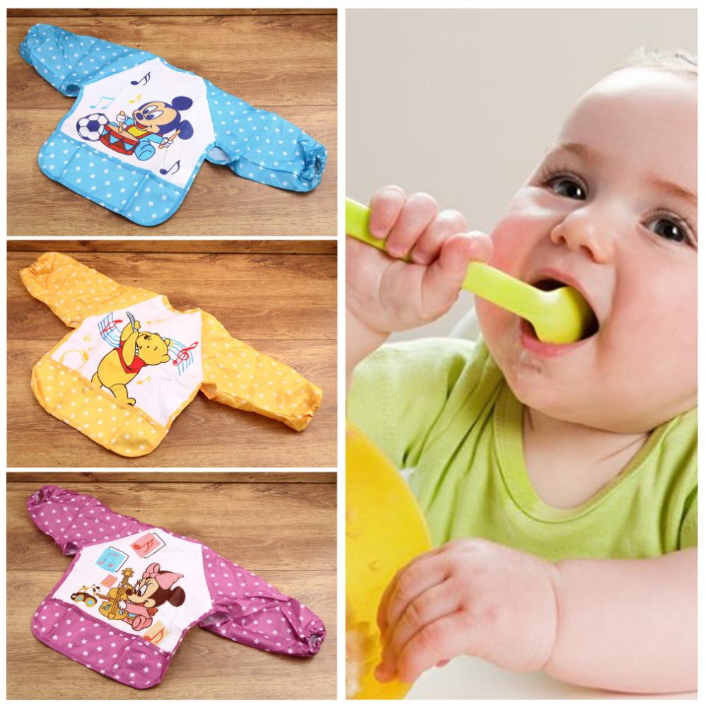 Cute Cartoon Children Baby Waterproof Long Sleeve Bib Apron for baby self feeding Brand New(China (Mainland))