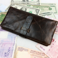 2014 New High Quality Vintage Casual Genuine Leather Cowhide Oil Wax Leather Men Long Bifold Wallet Wallets Purse For Men 520