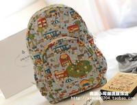 Double-shoulder school bag vintage flower multicolour canvas school bag laptop bag