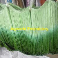 23cm long New arrival Rayon trimming Tassel loop bottom Gradient fringe lace Green 23cm