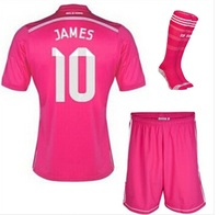 Free Shipping14-15 real madrid away pink #10 JAMES jersey real madrid full set including shirt set the match socks