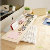 Wooden Office Room Multi-function Keyboard Storage shelf  Wood Rack DeskTop tidy stationery Sundries Pen Holder