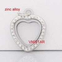 5pcs Vnistar Mini Floating Lockets Zinc Alloy Heart Locket Pendants VSP016-1