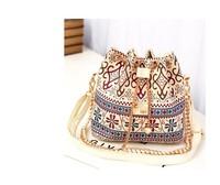 2014 New Women Handbag National Trend Bohemia Style Print Chain Drawstring Bucket Bag Women Messenger Bag 4 colors